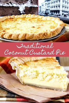 www.me ~ Coconut Custard Pie Coconut Recipes Easy, Easy Pie Recipes, Tart Recipes, Best Dessert Recipes, Fun Desserts, Delicious Desserts, Coconut Custard Pie Recipe Best, Pie Coconut, Coconut Cream