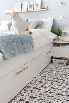 IKEA Bedroom Hacks That Will Blow Your Mind Genius IKEA Bedroom Hacks That Will Blow Your Mind - BRIMNES Bed frame with storage & headboard - white, Lönset - IKEA ikea malm bed hack Prepac King Select Platform Bed with Optional Drawers Cama Malm Ikea, Ikea Nordli, Ikea Headboard, Ikea Bedroom Furniture, Storage Headboard, Bedroom Drawers, Ikea Bedroom Design, Ikea Storage Bed Hack, Dorms Decor