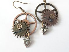 Steampunk  Earrings with gears and vintage by SteampunkJewelry1