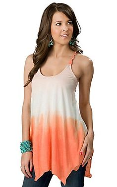 Ocean Drive® Womens Orange Ombre Leather Braided Strap Fashion Tunic Tank Top | Cavenders Boot City