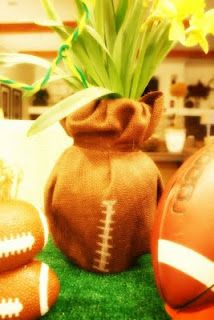 burlap football plant covers. This would be great for a super bowl party