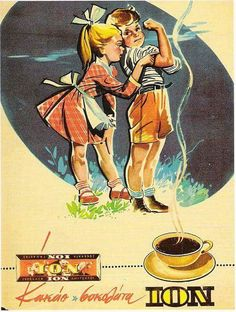 ION, still thriving Greek brand for cocoa and chocolate! Here, an ad(vertisement) from the Vintage Ads Food, Vintage Cards, Vintage Postcards, Vintage Photos, Vintage Advertising Posters, Old Advertisements, Old Posters, Old Commercials, Poster Ads