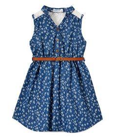 Look what I found on #zulily! Indigo Floral Belted Button Sleeveless Dress - Girls #zulilyfinds