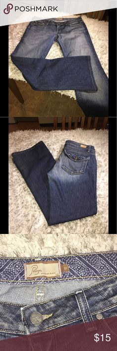 Paige Venice Bootcut Jeans Size 31 Paige Venice Jeans, Bootcut leg.  Medium blue rinse color with designer fading.  Size 31.  Inseam is 31.5 inches.  Good condition.  Important:   All items are freshly laundered as applicable prior to shipping (new items and shoes excluded).  Not all my items are from pet/smoke free homes.  Price is reduced to reflect this!   Thank you for looking! Paige Jeans Jeans Boot Cut