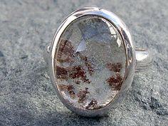 Lodolite gem (also known as Ghost Quartz or Phantom Quartz), set into a custom made sterling silver ring.
