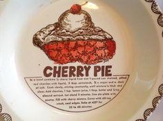 Vintage Recipe Cherry Pie Plate Baking Dish Ceramic Pottery | eBay
