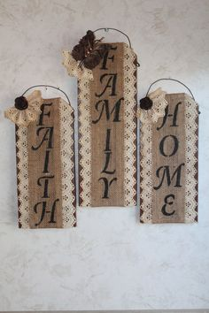 Burlap Lace and Wall Decor.Set of by CraftsByJoyice on Etsy, $49.95