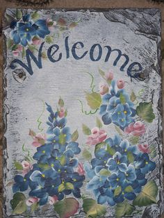 Slate Welcome Sign BLUE HYDRANGEAS Pink Roses by ABeautifulGift, $69.99
