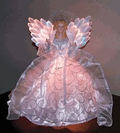 Fiber Optic Angel - White Dress w/ Silver Swirls Victorian Christmas Tree, Ghost Of Christmas Past, Christmas Tree Tops, Purple Christmas, Christmas Angels, Christmas Holidays, Christmas Crafts, Christmas Decorations, Christmas Ornaments