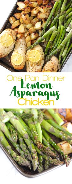This One Pan Lemon Asparagus Chicken recipe is a quick and simple dinner using chicken breasts, roasted with crispy potatoes, asparagus, lemon and honey. Delicious, sticky, tasty, a really easy family meal.