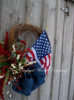 Americana Wreath Patriotic Wreath 4th of July by NewEnglandWreath