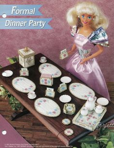 Formal Dinner Party, Annie's plastic canvas patterns fit Barbie fashion dolls #AnniesAttic #Fashiondollaccessories