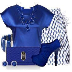 Royal Blue & White by pinkroseten on Polyvore