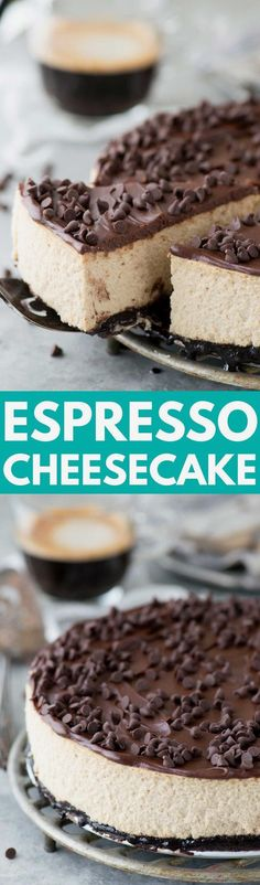 The most amazing espresso cheesecake with an oreo crust and…