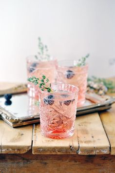 Love Potion -  Blackberry Syrup (Recipe), Prosecco or Champagne, Sprigs of Thyme.