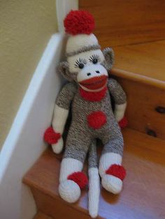 Vintage Sock Monkey Handmade Stuffed Animal Toy | eBay