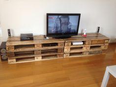 Meuble tv tout en palette europ enne - Meuble a chaussure en palette ...