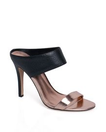 Josie copper toe and black snakeskin mock-mule - ShoeMint