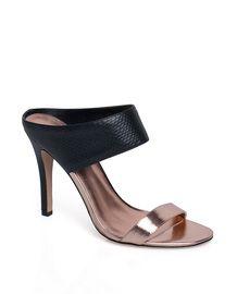 Josie copper toe and black snakeskin mock-mule - ShoeMint