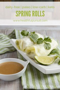 Low-Carb Spring Rolls with Ginger Dipping Sauce (keto, paleo + dairy-free) (Healthful Pursuit) Paleo Dairy, Dairy Free, Paleo Recipes, Low Carb Recipes, Snacks Recipes, Crockpot Recipes, Recipes Dinner, Potato Recipes, Casserole Recipes