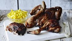 Spatchcocking (flattening) chicken is a handy way of cooking it much quicker than normal. Although you should give this marinade a night in the fridge to really penetrate the meat. Cooked Chicken Recipes, Turkey Recipes, How To Cook Chicken, Meat Recipes, Cooking Recipes, Spatchcock Chicken, Recipe Builder, Grilling Sides, Celeriac