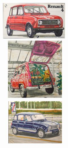 Fantastic illustration of Renault 4 painted with marker pens, by Ozeha designer…