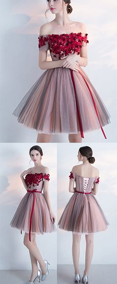 Homecoming Dress,A-line Off-the-shoulder Cocktail Dress,Homecoming Dress With Red Appliques,Mini Dress With Belt,Appliqued Party Dress,Short Cocktail Dress
