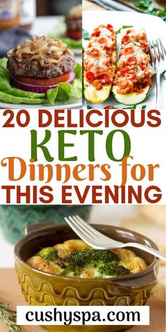 Sharing 20 tasty keto dinners that you can make this evening and make sure you stay in ketosis. These ketogenic recipes are delicious but easy, so give them a try. Ketogenic Recipes, Low Carb Recipes, Soup Recipes, Diet Recipes, Vegan Recipes, Slimfast Recipes, Dessert Recipes, Quiche Recipes, Vegan Keto