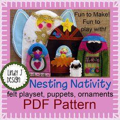 NESTING  NATIVITY  Felt Playset Ornaments Puppets PDF Pattern