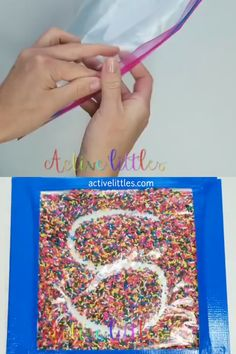 Simple Sprinkle Sensory Bag How To Make an Easy DIY Ziplock Sensory Bag for kids. These simple videos show how to make this simple bag for writing for preschoolers and kindergarten. The post Simple Sprinkle Sensory Bag appeared first on Pink Unicorn. Preschool Learning Activities, Alphabet Activities, Infant Activities, Classroom Activities, Preschool Crafts, Learning Letters, Activities For 3 Year Olds, Educational Activities, Colour Activities Eyfs