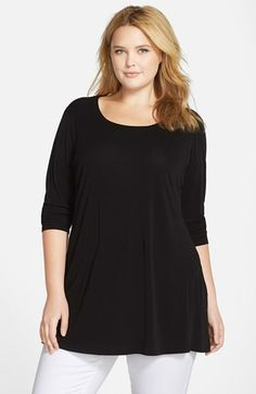 Eileen+Fisher+Scoop+Neck+Stretch+Silk+Jersey+Tunic+(Plus+Size)+available+at+#Nordstrom