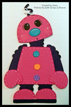 4 Piece Scrapbook Paper Pieced Girl Robot Set