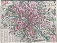 """""""Plan lavé topographiquement de la ville de Paris."""" Copperplate map, 35.3 × 46.8 cm, with added color. From Atlas administratif de Paris."""