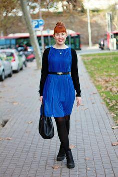 Blue Dress, black LS shirt, black tights and shoes