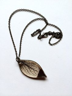 Small LusterGold Dipped Ceramic Leaf Pendant by AlainaSheenDesigns, $18.00