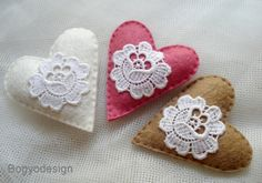 applique with my crochet hearts.    Felt hearts are easy to make yourself if your feeling crafty, and make ideal and inexpensive wedding favours.