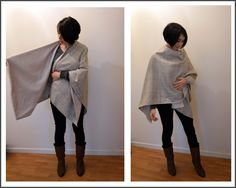 Funky Sunday: Tuto-couture: Le patron gratuit de la cape poncho - Mantle tutorial how to DIY poncho free sewing pattern sew fabric tuto Sewing Patterns Free, Free Sewing, Free Pattern, Sewing Hacks, Sewing Tutorials, Sewing Crafts, Diy Couture, Couture Sewing, Diy Clothing