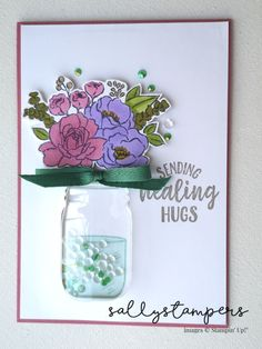 Pootles New Catalogue Blog Hop. Using Jar Of Flowers, Jar Punch and Mason Jar Shaker Domes to create this pretty card.  Independent Stampin' Up!® Demonstrator UK. Happy Birthday Images, Happy Birthday Greetings, Birthday Wishes, Mason Jar Cards, Mason Jars, Flower Stamp, Flower Cards, Stamp Making, Card Making