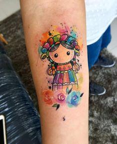by Javi Wolf Sweet Tattoos, Unique Tattoos, Beautiful Tattoos, Time Tattoos, Body Art Tattoos, Tatoos, Doll Tattoo, I Tattoo, Henna Tattoo Designs Arm