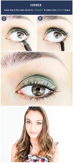 Trace the pencil ONLY along the outer half of the eye. You could even do just the outer quarter or third if you wish.