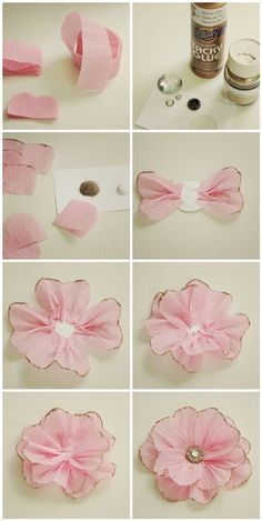 Tutorial for making crepe paper ribbon flowers. Would make a beautiful top to wrapping a gift.