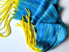 "Felted scarves Wool scarf Wet felted scarf Blue Long scarf Unisex scarves handmade double-sided scarf winter scarf 100""/12"" with tassels warm scarf winter scarf wet felted scarf Wool felted scarf double-sided scarf blue and yellow Felted scarves Blue scarf Unisex scarves Long scarf Wet felted Merino wool Wool scarf 79.00 USD #goriani"