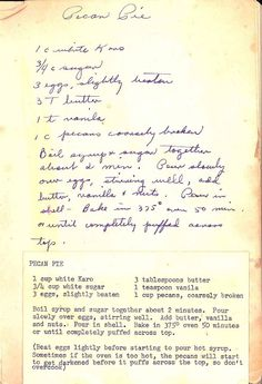Grandma's Pecan Pie Recipe (I leave the pecan have's hole then I them in the bottom of the pan. Then I flip them over with the fork and sit it in a pretty pattern) Retro Recipes, Old Recipes, Vintage Recipes, Sweet Recipes, Cooking Recipes, Pie Dessert, Dessert Recipes, Vintage Cooking, Pecan Recipes