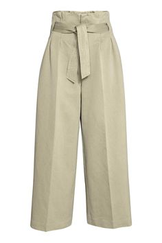 Wide trousers with a belt - Light khaki - Ladies Long Pants, Wide Leg Pants, Wide Trousers, Beige Pants, Khaki Pants, Trousers Women, Pants For Women, Pantalon Large, Outfit Sets