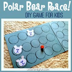 Polar Bear Race Game (from Little Family Fun) famili fun, bear race, polar bears, polar bear craft preschool, polar bear activities, race game, polar bear games, math skills, bears preschool activities