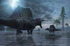 Spinosaurus Hunting Party by Herschel-Hoffmeyer on DeviantArt Spinosaurus, Dinosaur Fossils, Dinosaur Art, Carnivore, Jurassic Park World, Extinct Animals, Prehistoric Creatures, North Africa, Herschel