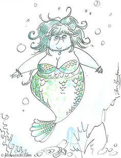 Fat mermaid sketch by Jim Benton. I loves her.