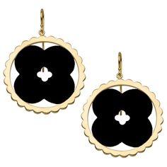 Asha by ADM Lily ($395) ❤ liked on Polyvore featuring jewelry, earrings, black, 14 karat gold earrings, 14 karat gold jewelry, disc earrings, earrings jewelry and carved jewelry