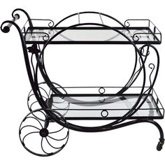 Salterini Garden Tea (or Bar) Cart from Walnut and West on Ruby Lane Iron Furniture, Steel Furniture, Vertikal Garden, Salterini, Wine Stand, Vintage Patio, Wrought Iron Decor, Shabby Chic Garden, Metal Bending