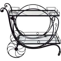 Salterini Wrought Iron & Steel Bar Cart  @rubylanecom #VintageGarden #rubylane